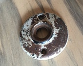 Vintage Rosette - Chippy Paint - Hardware Steampunk Assembage Jewelry Pendant