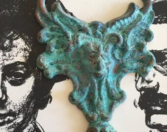 Vintage Figural Lightweight Gothic Brass Stamping - Handcrafted Verdigris Patina