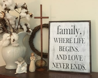 Family where life begins sign,14x15, Rustic Wood Signs, Farmhouse Signs, Wall Décor