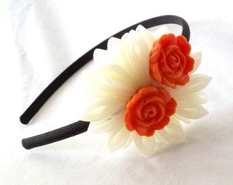 Kanzashi Flower Headband Cream with Orange Roses
