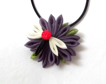 Wearable Fiber Art Dragonfly Pendant Purple Red Statement Necklace