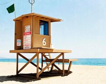 Newport Beach, Balboa Island, Tower #6, Beach Decor, Beach Wall Art, Coastal Decor, Square Print, Brown Blue Beige,  Newport Tower