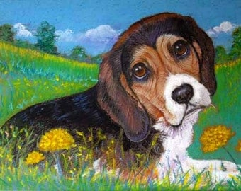 Beagle dog painting art dog wildflowers Original Oil Pastel painting Beagle hound dandelion sky