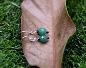 Green Aventurine with Black Spinel Sterling Silver Earrings