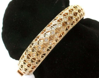Vintage Crystal Rhinestone Gold-Tone Clamper Bracelet