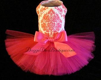 Dog Dress, Tutu Dress, Hot Pink Glitter Damask  XXS, XS, Small, Medium