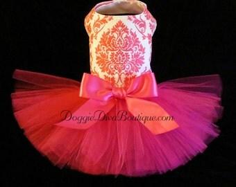 Sample Sale, Dog Dress, Tutu Dress, Hot Pink Glitter Damask  Small