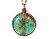 The Round Turquoise Tree of Life Necklace in Antique Copper.