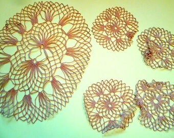 Vintage Gold colored Doilies, Six Large and Four Small