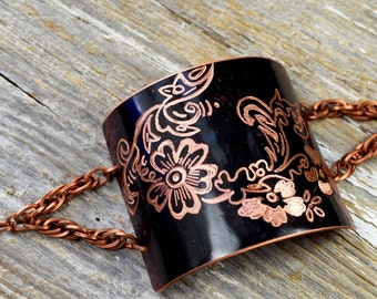 Metal Ink'd  - Hand Patinaed & Engraved with Indian Mehndi Design Copper Cuff Bracelet: ReaganJuel