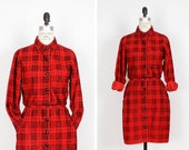Black and Red Corduroy Dress S • Red Plaid Dress with Pockets • Buffalo Plaid Shirtdress • Button Up Dress • Duster Jacket Dress | D555