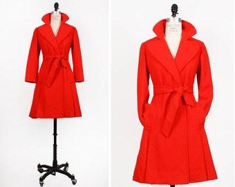 60s Red Wool Coat XS • Long Wool Coat • Bright Red Winter Coat • Maxi Coat with Sash Tie   | O175