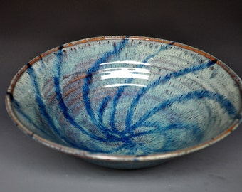 Pottery Salad Bowl Ceramic Bowl Blue Green Serving Bowl A