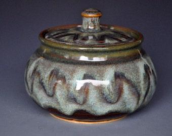 Pottery Jar Lidded Sugar Bowl Small Ceramic Stoneware  D