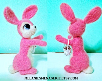 Felted Pink Rabbit / Easter Bunny / Peter Cottontail / Felted Soft Sculpture