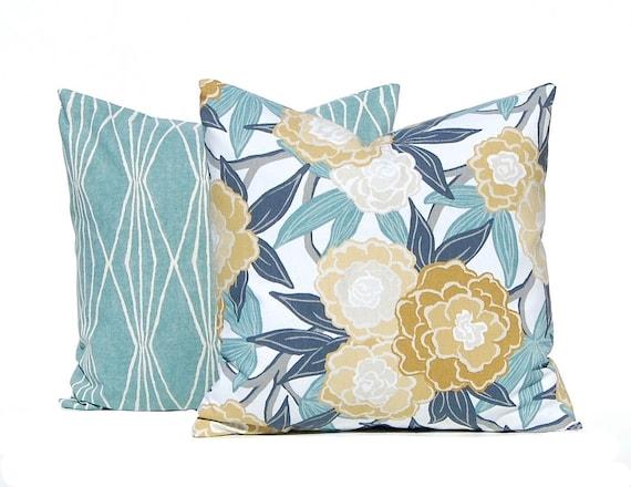 Euro Shams Decorative Pillow Covers Aqua Cushion Covers