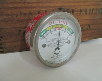 Vintage Gauge Cell Tester - Industrial Decor - Assemblage Art - Altered Art - Steampunk- Made in USA