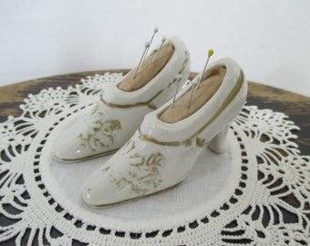 Vintage Small White Shoe Pincushions - Sewing Decor Studio - Japan - Gold flower design - Two in Set