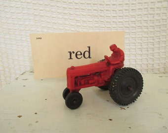 Vintage Red Rubber Tractor Auburn - Farm Toy - Children's Toy Tractor - Child's Bedroom Decor