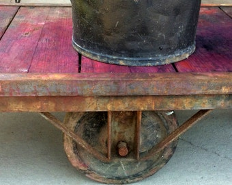 Old Industrial Wooden Cart Factory Cart Coffee Table Old Paint Cast Iron