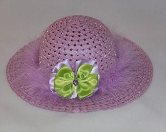 Tea Party Hat - Lavender Easter Bonnet with Lavender Boa - Girls Sun Hat - Easter Hat -  Birthday Hat - Sunday Dress Hat - Derby Hat  1674
