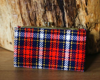 Red White Blue and Yellow Tartan Plaid Woven Flannel Wallet