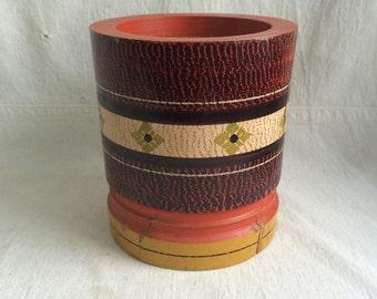 Vintage hand made wood vase  hand painted wood tree trunk vase  lathed tree vase