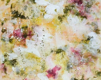 Surprise SALE Encaustic Painting Original Abstract Painting Roses painting  Blessed Days  14 x 18  Swalla Studio