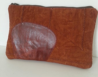 African Mud Cloth Fabric Clutch Purse, Brown Leather Clutch, Oversized Clutch, African Handbag
