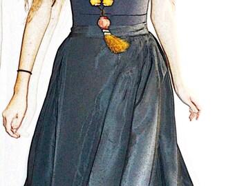 Vintage 1940s New Look Full Black Taffeta Formal Party Skirt 28 Inch Waist