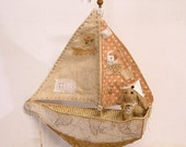 SAILING BOAT, SHIP from Paper and Fabric, Vintage style, Tiny Rabbit Sailor in viscose