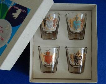 Vintage Federal Glass Camelot Shot Glasses, 1960s Rumpus Set S-364, Four Glasses in Original Box