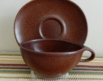 1950s Raymor Autumn Brown Cup and Saucer, Ben Seibel Design, Roseville Pottery