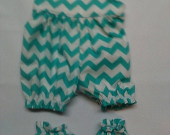 "Baby Alive  And Waldorf Doll Clothes Adorable Romper and Booties 10"" 12"" Or 15"" Aqua Chevron"
