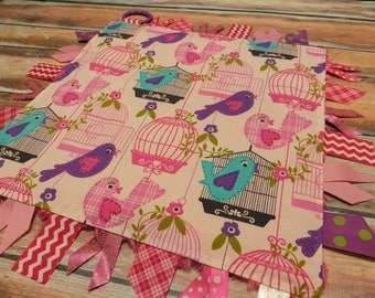 Ribbon Sensory Baby Girl Blanket Lovey - Pretty Birds  READY TO SHIP