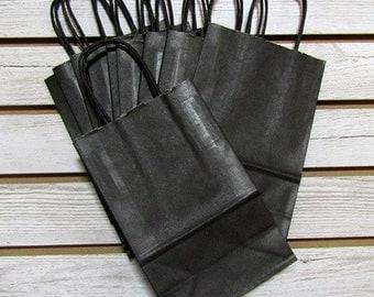 "5"" X 3"" X 7"" Black Kraft Bag Shopping Tote - 10 Pcs"