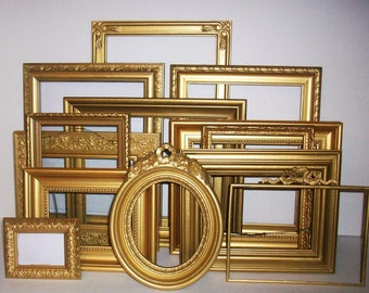 Set of 13 Shabby Chic Gold Picture Frames for Gallery Wall, Wedding Decor, Nursery Decor