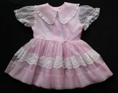 Girl's 4T Fancy Dress - 1950s Pink Girls Dress with Puffed Sleeves & Lace - Child Size 4 - Spring 50s Full Skirted Party Frock - 29822-1