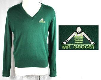 Men's Large Sweater - Vintage 1970s Mr. Grocer V-Neck Sweater - Mens Retro 70s V Neck Pullover - Hunter Green - Chest 46 - 35743