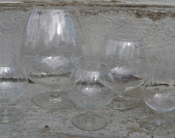 brandy snifter set 4 sizes set of 5 clear glass snifters mid century vintage wedding holiday decorating