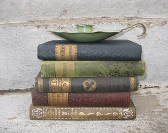 antique book collection ornate covers set of 5 old world look