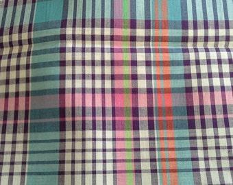 Pink, Purple, Blue Woven Plaid Cotton Fabric 3 Yards X0606