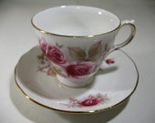 Vintage Queen Anne Cup & Saucer with Pink Roses