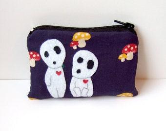 Small Kodama (princess mononoke) pouch, with cure mushroom fabric