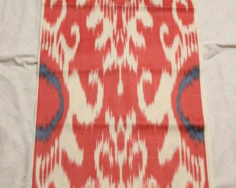 Uzbek red cotton woven ikat fabric