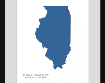 DePaul University - Illinois Map - Print Poster - college State Map