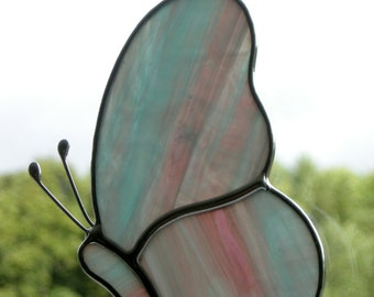 Stained Glass ornament (Butterfly) blue, pink and clear streaky glass