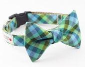 Green Plaid Bowtie Dog Collar