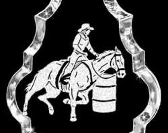 Barrel Rider Horse Custom Made Crystal Necklace Pendant Jewelry made with any Animal or Name YOU Want, Great gift, FFA, Horse Lover, Rodeo