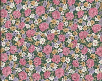Vintage Calico Print (Pink, Yellow and White Flower Print) Fabric, 2 yards